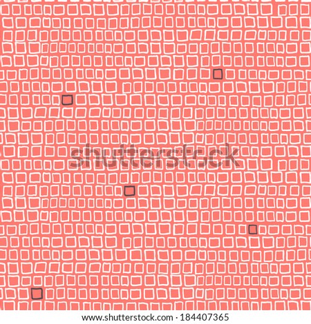 Vector geometric pattern with small hand drawn squares placed in rows in bright red color - stock vector