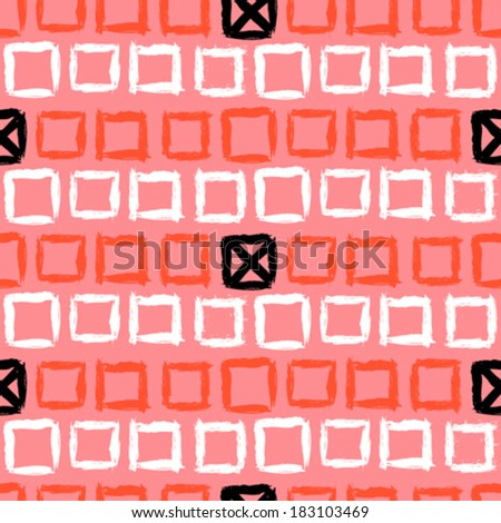 Vector geometric pattern with small hand painted squares placed in rows in bright coral red, white and black can be used for web, print, summer fall fashion, textile, fabric, wallpaper, wrapping paper - stock vector