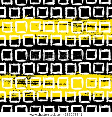 Vector geometric pattern with small hand painted squares placed in rows in bright yellow, white and black  - stock vector