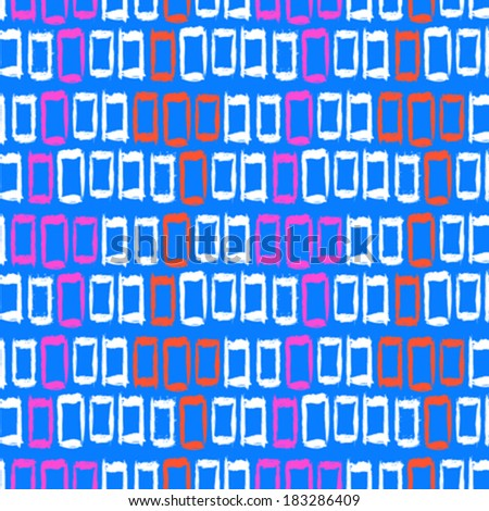 Vector geometric pattern with small hand painted squares placed in zigzag lines in bright pink, white and blue  - stock vector