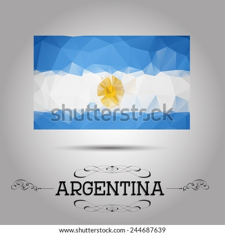 Vector geometric polygonal Argentina flag. For your design - stock vector