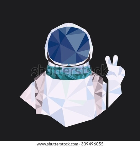 """Vector geometric polygonal illustration, Interstellar spaceman with gesture """"Peace"""". Space theme.  - stock vector"""