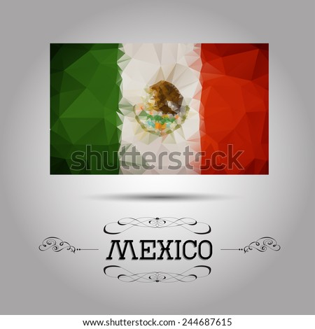 Vector geometric polygonal Mexico flag. For your design - stock vector