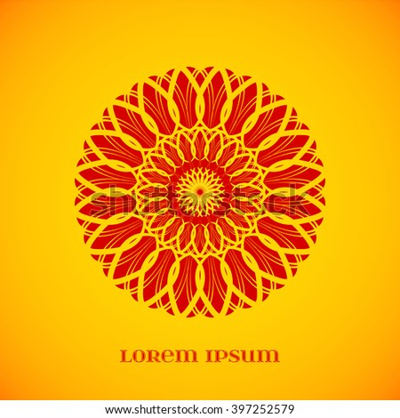 Vector Geometric Red Mandala over Orange. Element for your designs, invitation cards, yoga, meditation, astrology, religion and other projects - stock vector
