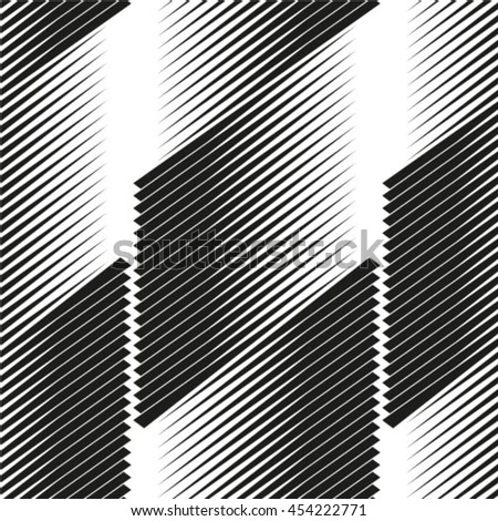 Vector geometric seamless pattern. Repeating abstract stripes in black and white. - stock vector