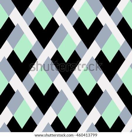 Vector geometric seamless pattern with bold lines and mosaic tiles in blue, grey, mint green, pastel color. Modern print with diamond shape for fall winter fashion. Abstract tech op art background