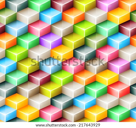 Vector geometric seamless pattern with bright colored cubes. Tiled mosaic background with 3D glass shapes. Web design concept - stock vector