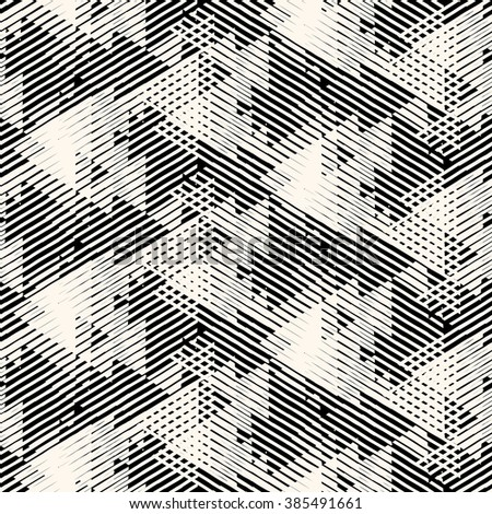 Vector geometric seamless pattern with lines and overlapping triangles in black and white. Striped modern bold print in 1980s style for summer fall fashion. Abstract dynamic techno chevron background - stock vector