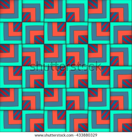Vector geometric seamless pattern with squares. Repeated  elements.  - stock vector