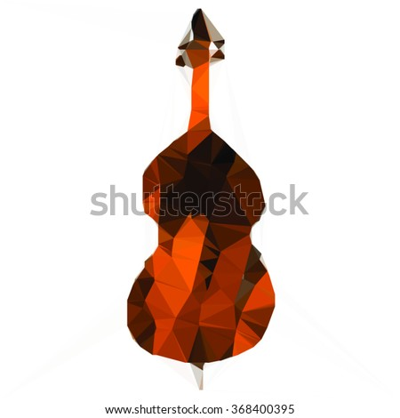 Vector geometric silhouette of a cello on a white background