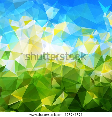Vector geometric spring abstract background, green grass and blue sky, triangle style - stock vector