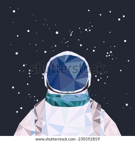 Vector geometric triangle illustration. Interstellar spaceman. - stock vector