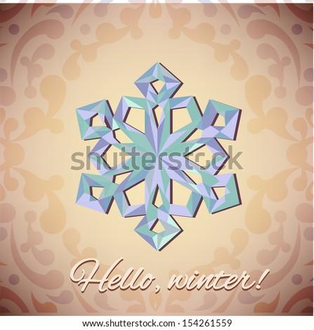 Vector geometrical snowflake - stock vector