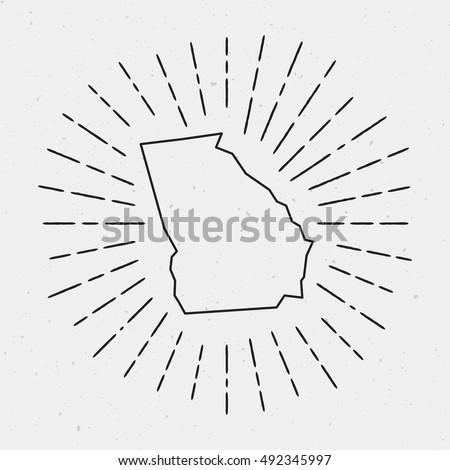 Vector Georgia Map Outline Retro Sunburst Stock Vector - Georgia map drawing