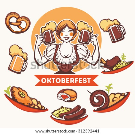 vector German girl and collection of traditional German ...