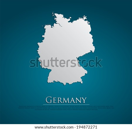 vector Germany Map card paper on blue background, high detailed - stock vector
