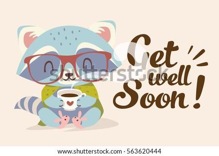 Vector Get Well Soon Illustration Raccoon Stock Vector