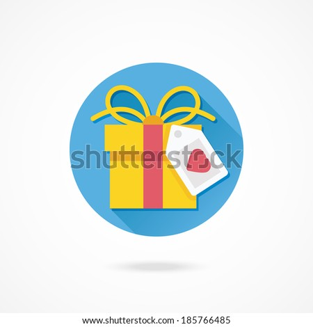 Vector Gift Box and Label with Heart Shape Icon - stock vector