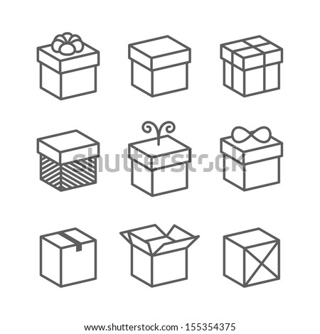 Vector Gift Box Icons, Holiday Presents - stock vector