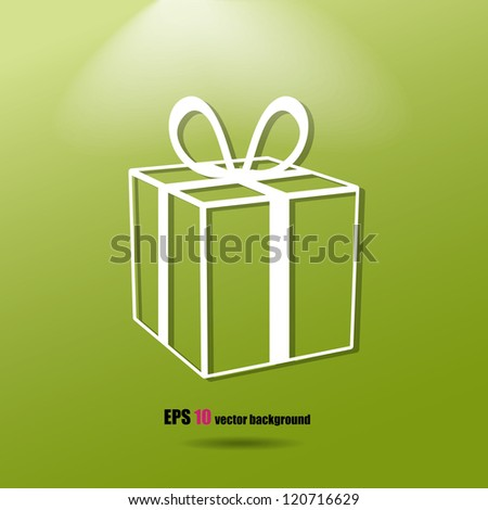 Vector gift box on the green background. Eps10 .Image contain transparency and various blending modes - stock vector