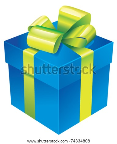 Vector gift box with green silk ribbon and bow - stock vector