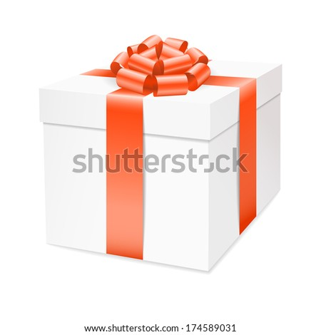 Vector gift box with red bow ribbon isolated on white. - stock vector