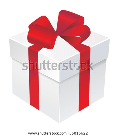 Vector gift box with red ribbon and bow - stock vector