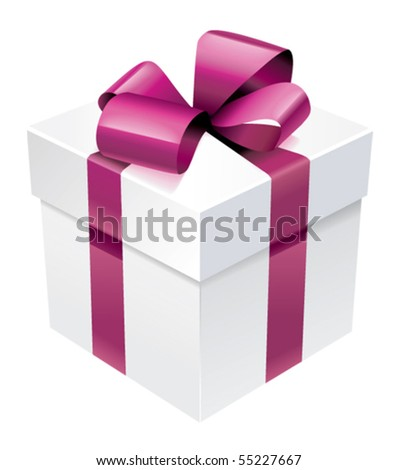 Vector gift  box with silk pink bow - stock vector