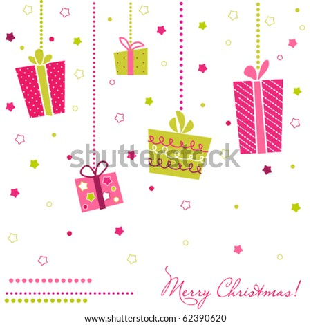 Vector Gift Boxes, christmas card - stock vector