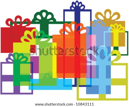 Vector Gift boxes composition. Recompose, rescale & recolor to your liking. - stock vector