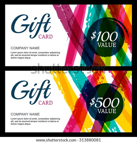 Vector gift card, abstract watercolor stripes and splashes background. Trendy colorful pattern. Concept for boutique, fashion shop, voucher, business template, beauty salon, flyer, banner design. - stock vector