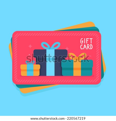 Vector gift card in flat style - shopping certificate with present icons - stock vector