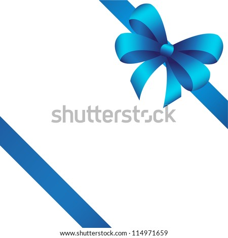 Vector gift card with blue ribbon, background - stock vector