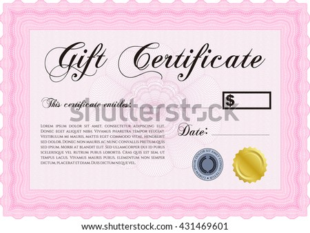 Vector Gift Certificate. Customizable, Easy to edit and change colors. Complex background. Excellent design.  - stock vector