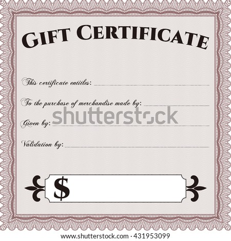 Vector Gift Certificate. Customizable, Easy to edit and change colors. Complex background. Lovely design.  - stock vector