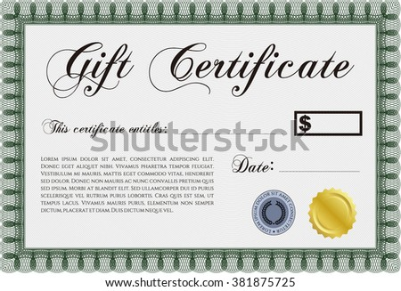 Vector gift certificate template vector illustration stock vector vector gift certificate template vector illustration with complex linear background excellent complex design yelopaper Gallery