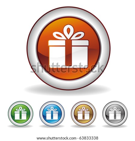 vector gift icon on white background - stock vector