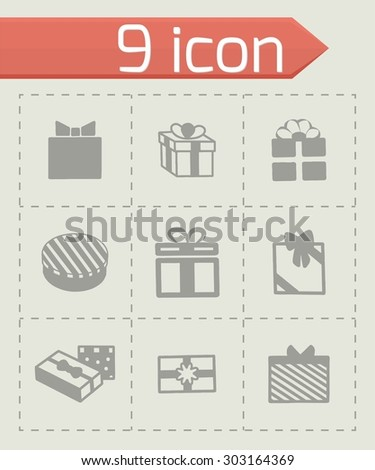 Vector gift icon set on grey background