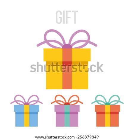 Vector gift icons set. Isolated on white background. - stock vector
