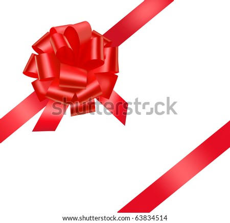 Vector. Gift red ribbon and bow. - stock vector