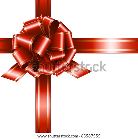 Vector gift red ribbon and bow on white background - stock vector