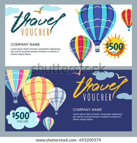 vector gift travel voucher template multicolor hot air balloons in the sky concept for