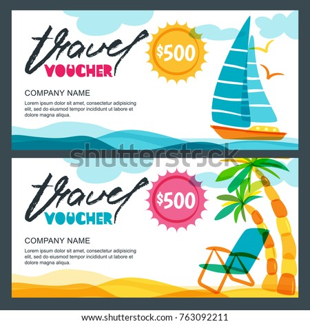 Vector gift travel voucher template tropical stock vector vector gift travel voucher template tropical island yacht sailing boat and palms illustration yadclub Image collections