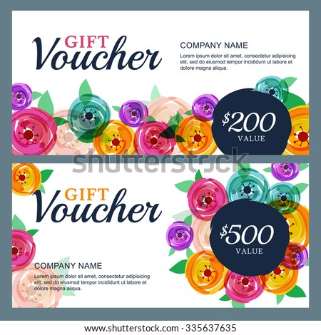 Vector gift voucher template with decorative rose flowers background. Business floral card template. Concept for boutique, jewelry, floral shop, beauty salon, fashion, flyer, banner design.   - stock vector