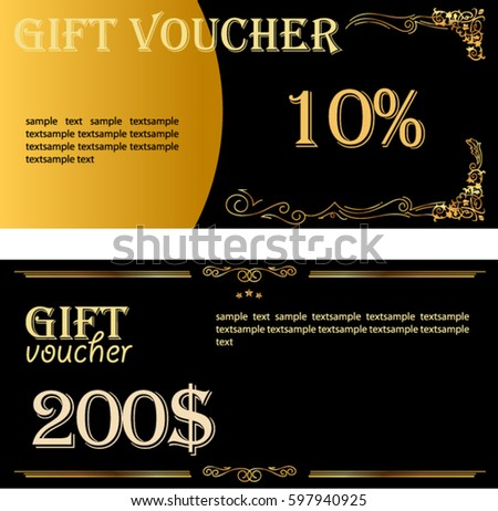 Special invitation stock images royalty free images vectors vector gift voucher template with floral decorative frame golden black holiday cards design stopboris Images