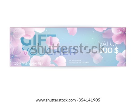 Vector gift voucher template with lotus, lily flowers. Business floral card template.  Concept for boutique, jewelry, floral shop, beauty salon, spa, fashion, flyer, banner design. - stock vector