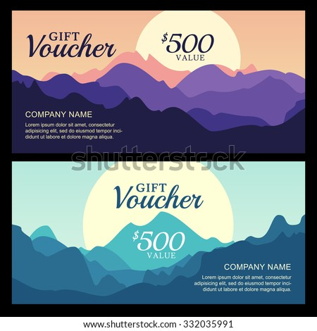Travel voucher stock images royalty free images vectors vector gift voucher with mountain landscape view business card template nature background abstract yadclub Image collections