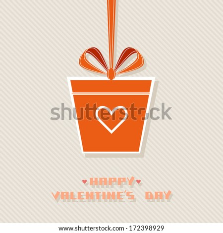 Vector gift with heart, red ribbon and bow. Original design element. Simple festive label. Greeting, invitation cute card with lettering - Happy Valentine's Day. Decorative illustration for print, web - stock vector