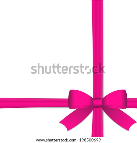 Vector - Gift with pink ribbon against  white background with copy space - stock vector