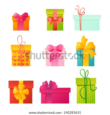 Vector gifts set - stock vector